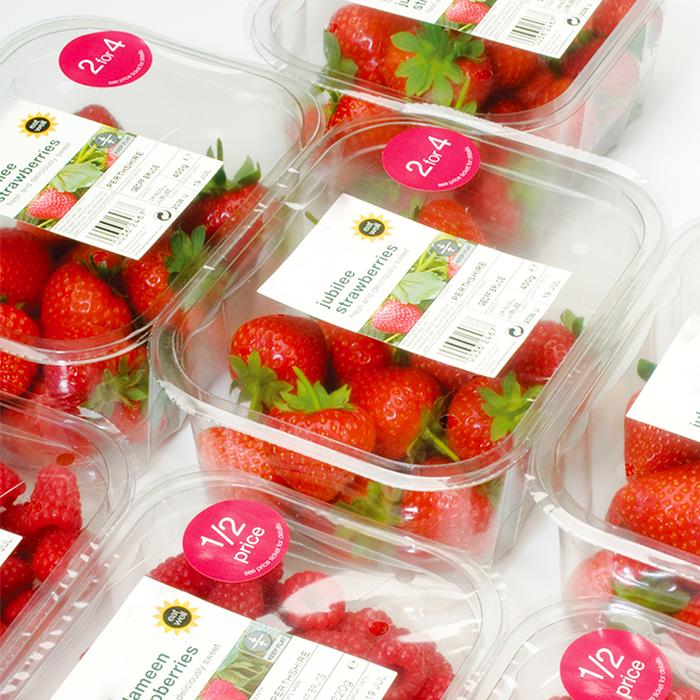 Fresas frescas dentro de en una caja de sellado con logotipos impresos en la parte superior de la tapa